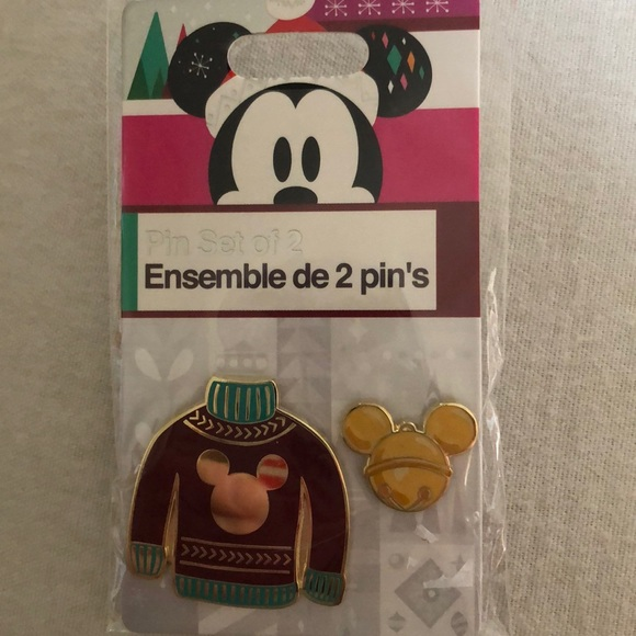 Disney Christmas red sweater & jingle bell pin